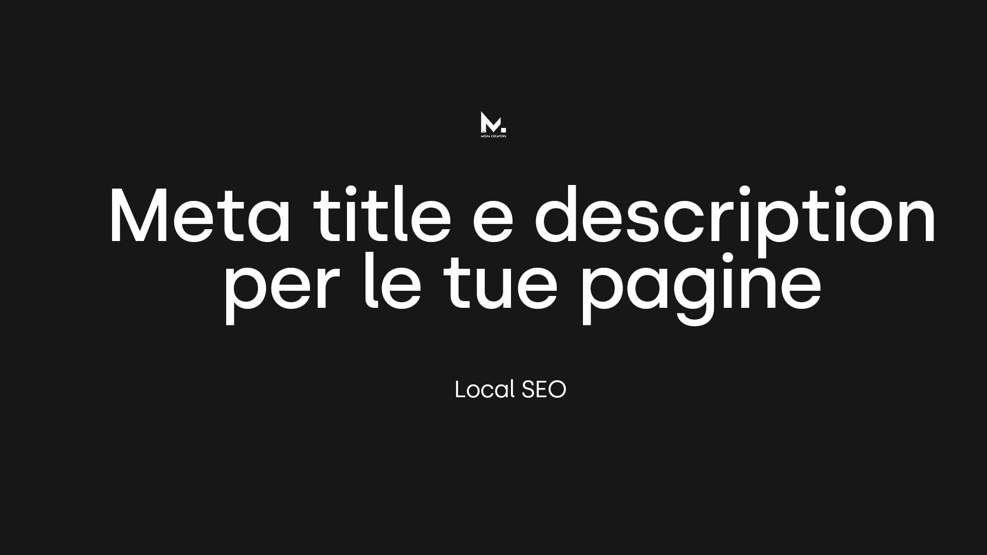 Local SEO: Meta title & Description